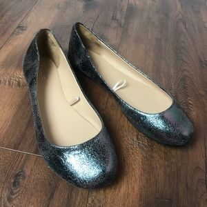 Express Grey Gun Metal Iridescent Flats
